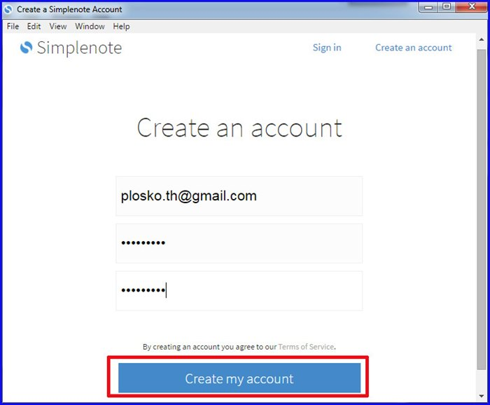 Create my account